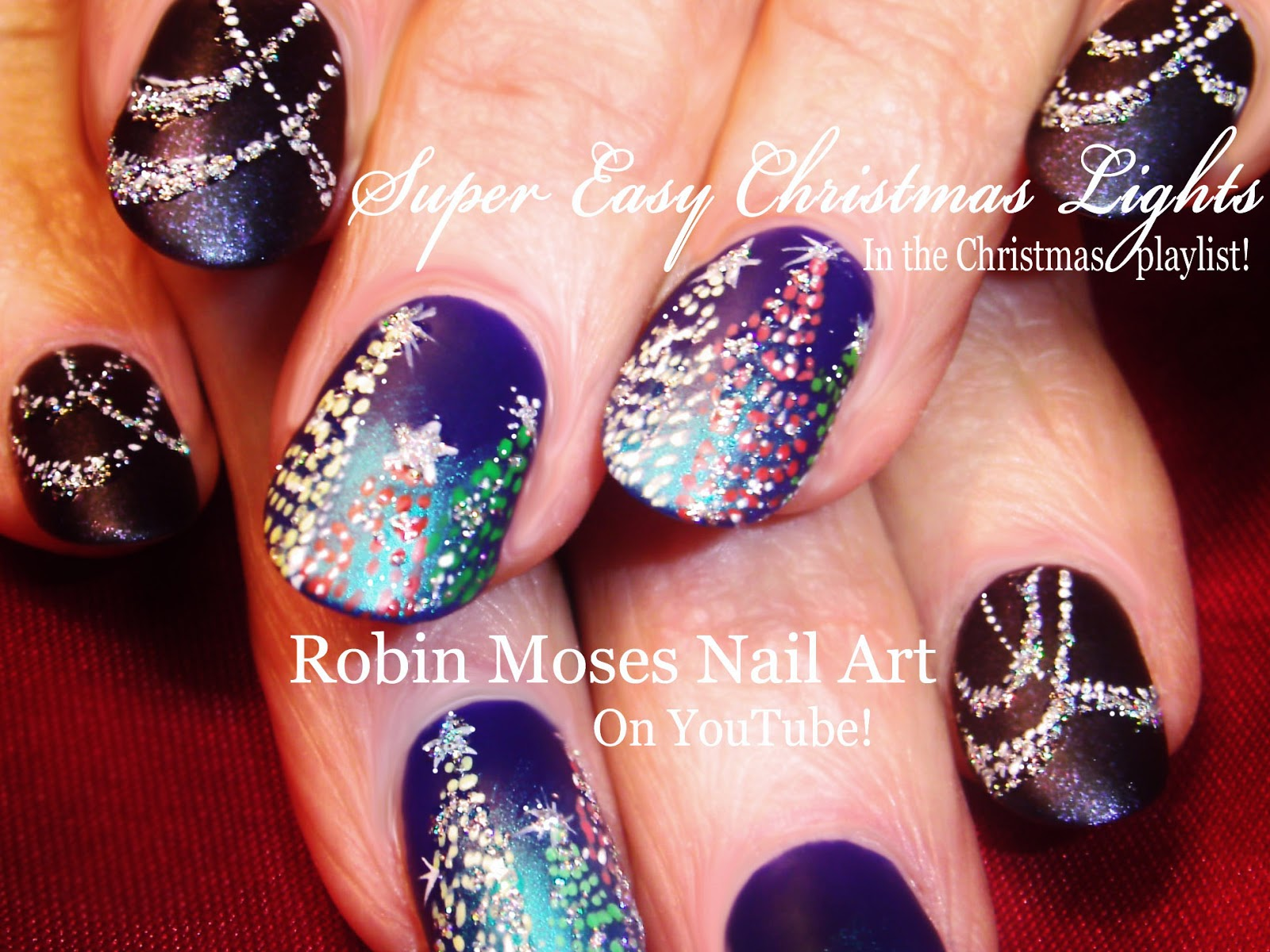 Nail Art by Robin Moses: Christmas Lights at Night Nail art ...