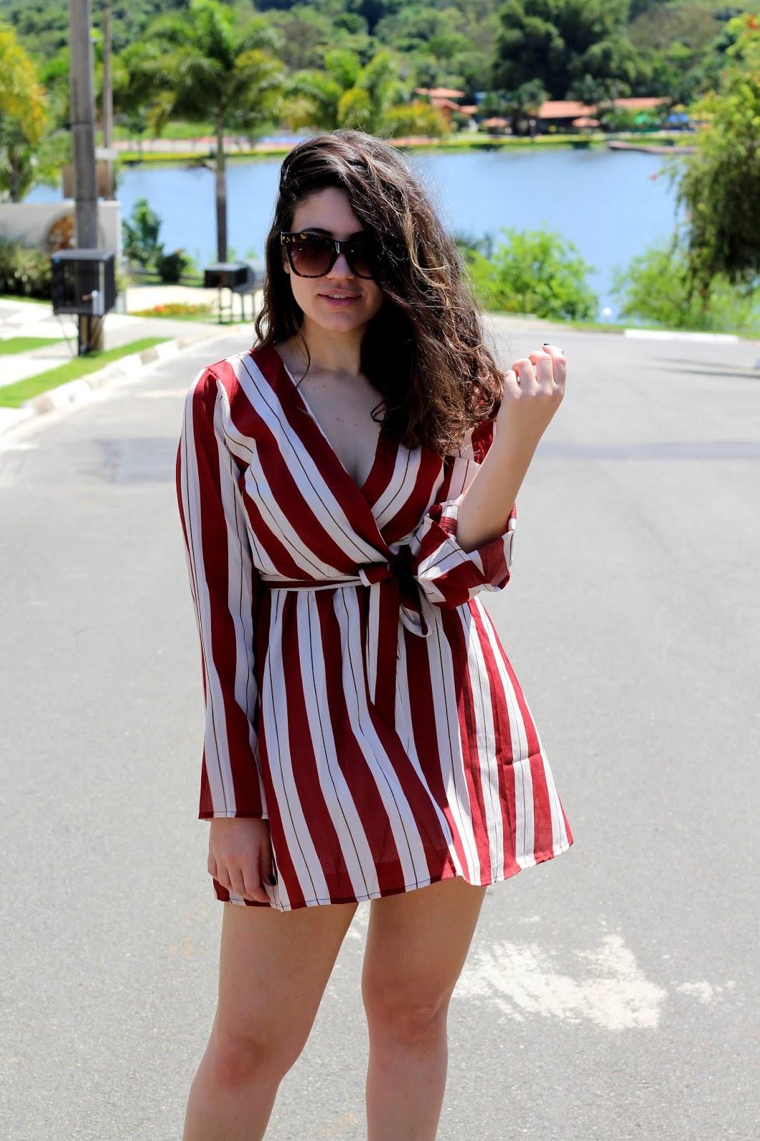 look da ana anadodia ana do dia vestido listrado listras vermelhas vestido dreslily look do dia
