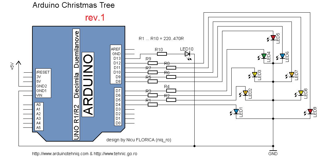 Arduino tehniq christmas tree with