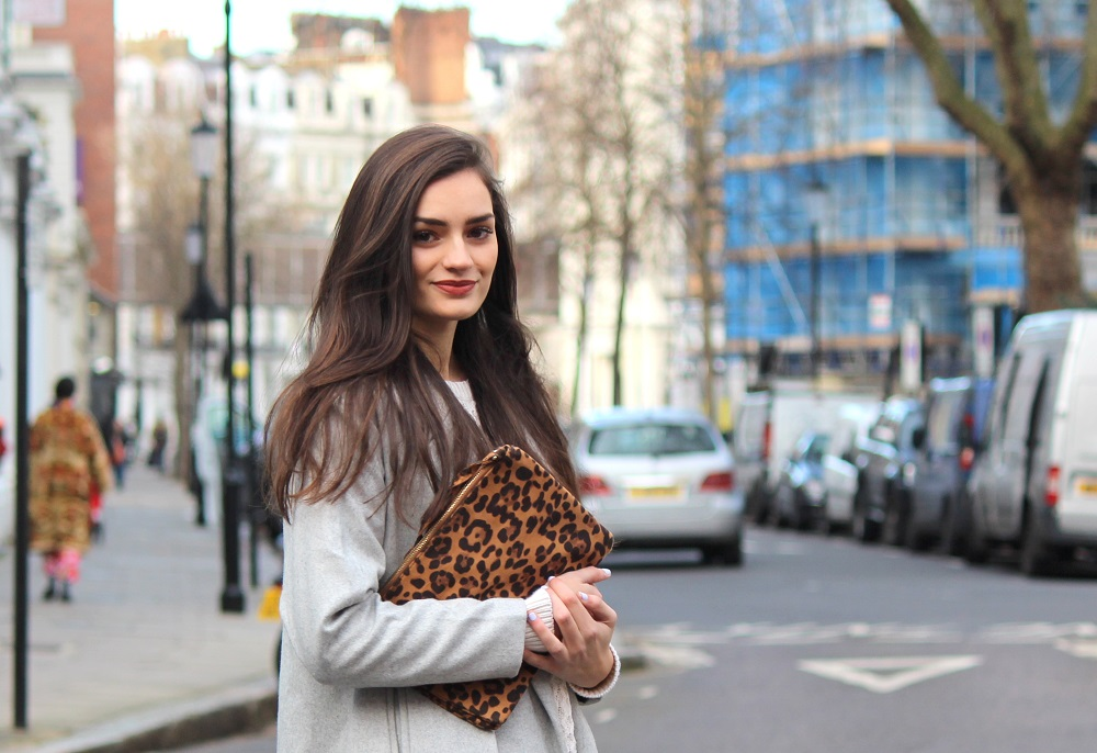 Peexo fashion blog spring outfit cable knit jumper maxi coat and leopard print clutch