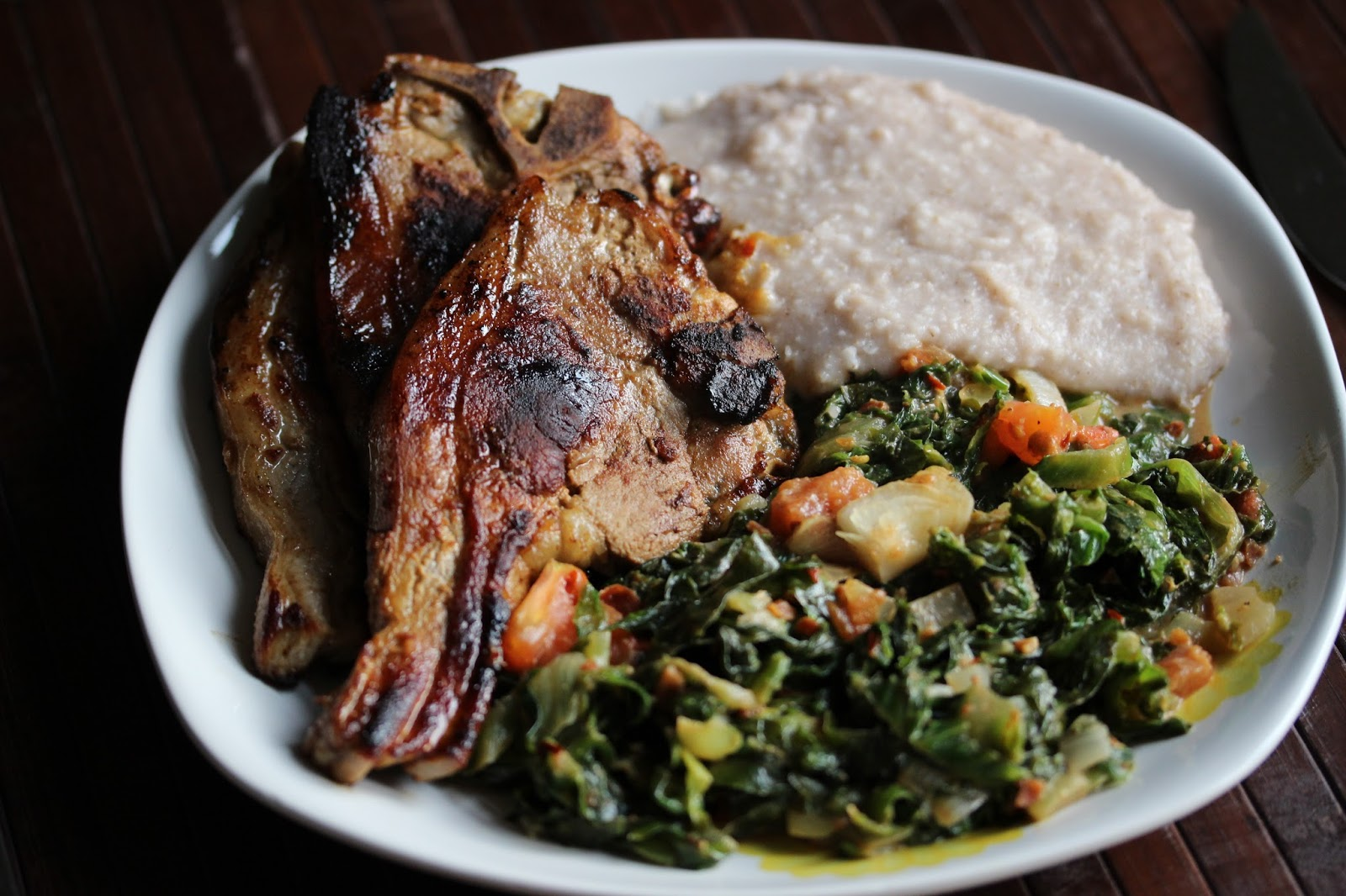 Raffis world day 197 zimbabwe and muriwo unedovi with sadza and nyama if you want to add meat just grill or fry some beef chicken or lamb without adding anything and serve with the rest i used some lamb chops and fried them forumfinder Choice Image
