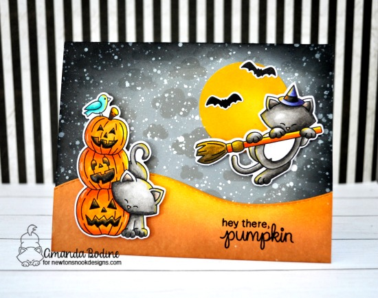 Hey There Pumpkin Halloween Card by Amanda Bodine | Newton's Boo-tiful Night Stamp Set and Cloudy Sky Stencil by Newton's Nook Designs #newtonsnook #handmade