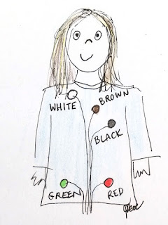A pencil and ink drawing of a cartoon person's upper body and head showing where the different coloured dots were stuck on the body.