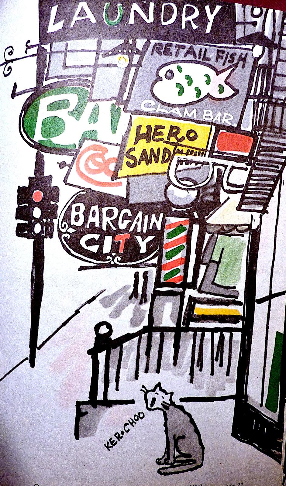 a Bernard Waber children's book illustration of a cat on an urban street