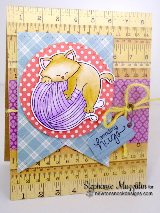 Cat and Yarn Card by Stephanie Muzzulin | Newton Unwinds Stamp Set & Die Set by Newton's Nook Designs #newtonsnook