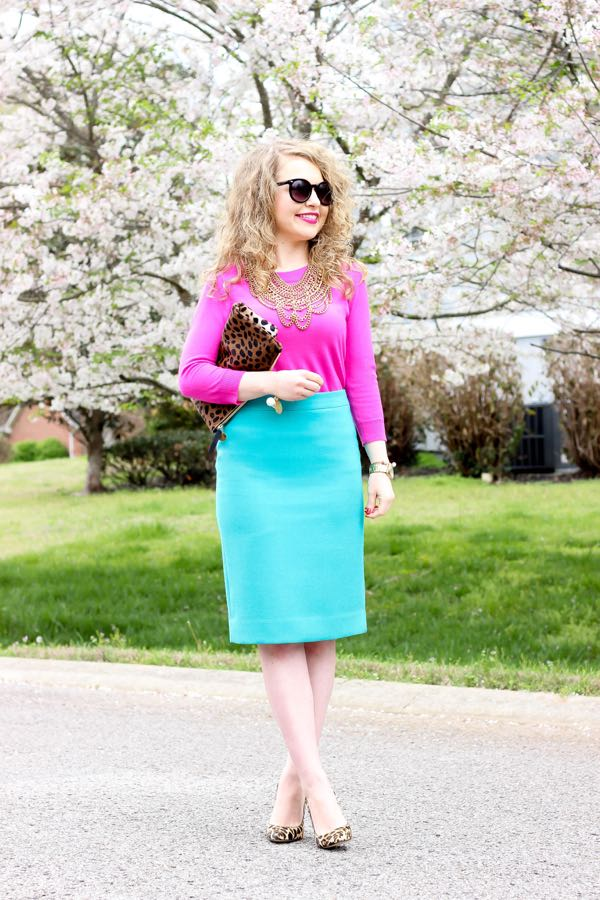 Teal Pencil Skirt
