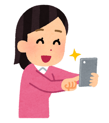スマートフォンで写真を撮影する人のイラスト(女性)