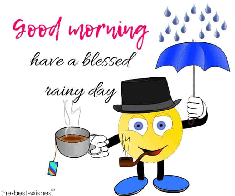rain good morning images with tea