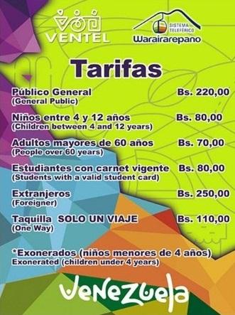 Tarifas y horarios del teleférico de Caracas Warairarepano, Actualizado. Los nuevos precios del teleférico de Caracas Warairarepano, Avila Magica