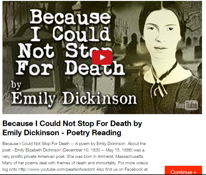 the theme of death in emily dickinsons poetry Examples many of dickenson's poems deal explicitly with concepts of death poem: a death blow is a life blow to some analysis: a belief in eternal life affects much of dickinson's death poetryin a death blow is a life blow to some, dickinson uses paradox to assert that physical death is.