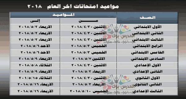 مواعيد امتحانات الترم الثاني  والإجازات الرسمية خلال العام 2017-2018