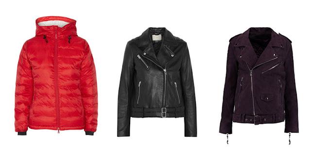 Красный пуховик и черные кожаная и замшевая куртки косухи