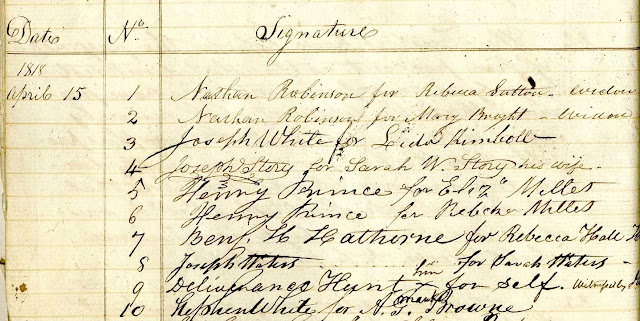 Signature ledger, 1818. Note #3, Joseph White opened an account for Lydia Kimball, his housekeeper.
