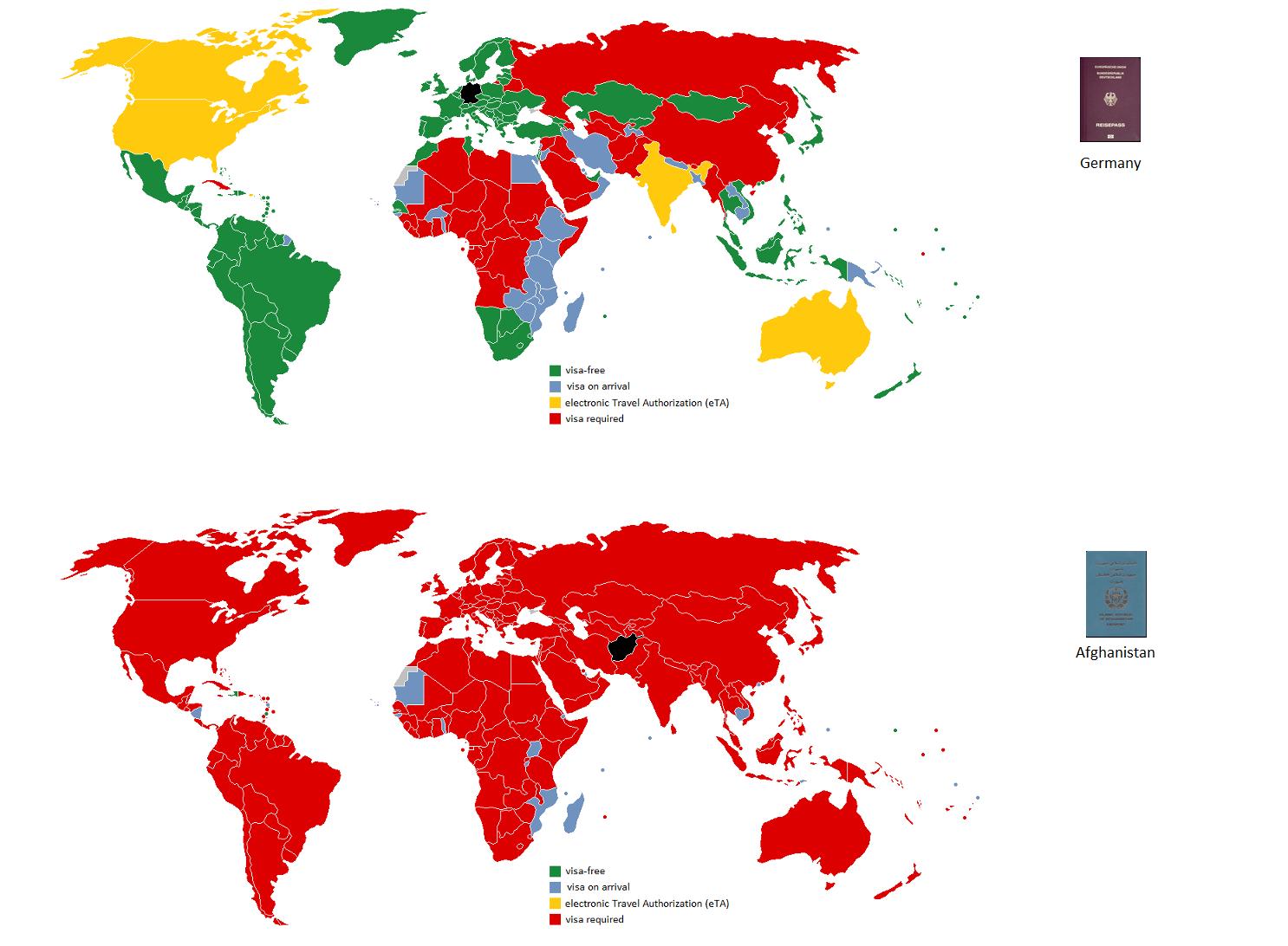 German passport vs. Afghan passport