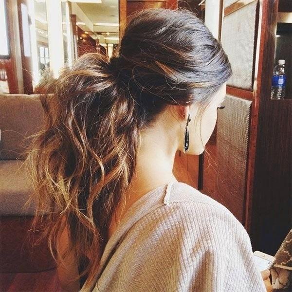 Big Messy Ponytail Hairstyle – Half up half down ponytail}
