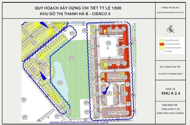Sơ đồ khu A2.4 dự án Thanh Hà Cienco 5 Hà Đông