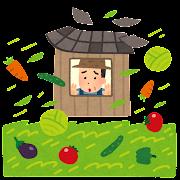 自然災害の心配をする野菜農家のイラスト