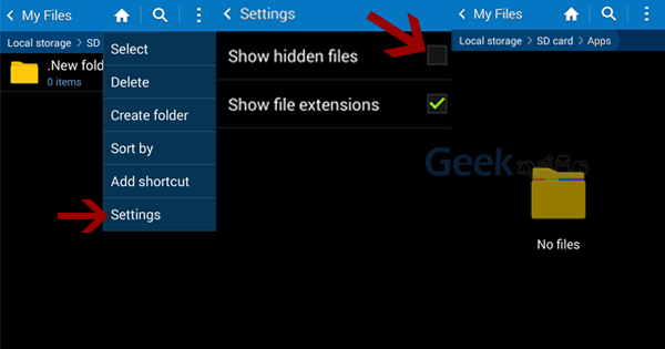 Android hidden files app