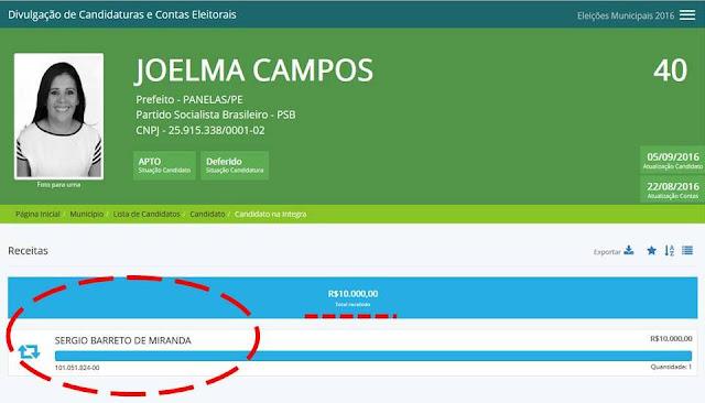 doação de R$ 10 mil para a campanha de Joelma Campos nas Eleições Municipais 2016