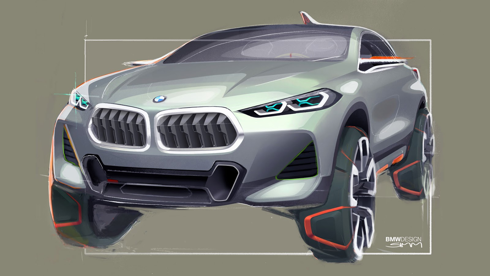 BMW X2 sketch by Sebastian Simm - front view in silver