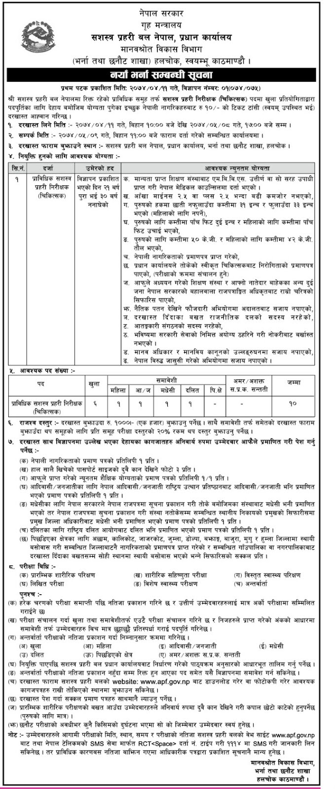 MBBS doctors Vacancy opened at Armed Police Force Nepal 2017