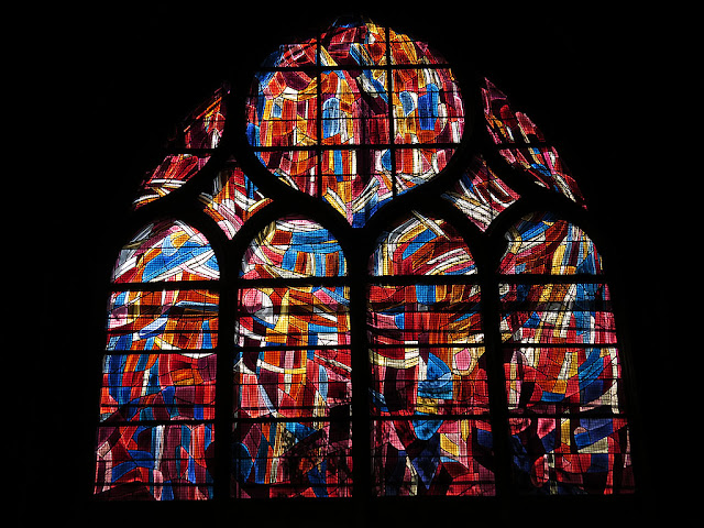 Stained glass, église Saint-Séverin, church of Saint-Séverin, rue des Prêtres Saint-Séverin, Paris