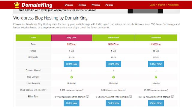 domainking wordpress blog hosting plans
