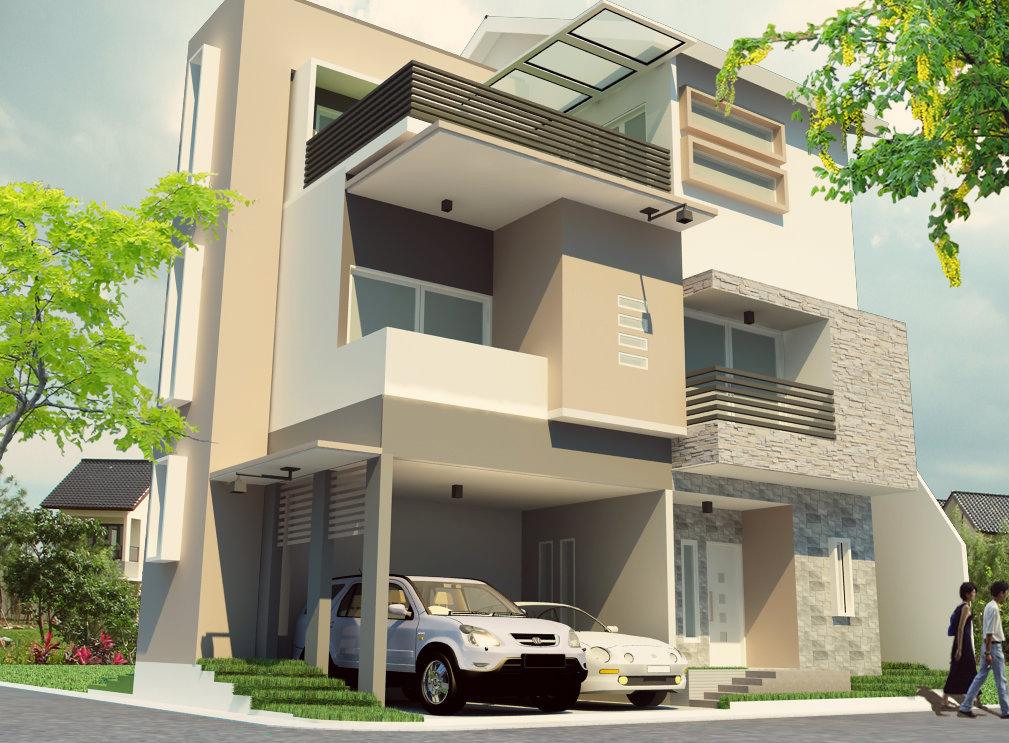 konsep rumah minimalis 3 lantai tampak depan