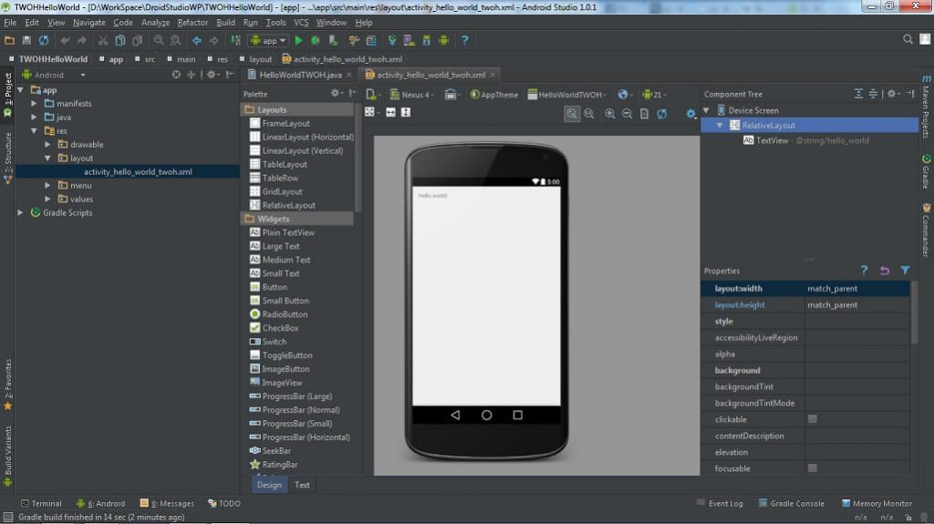 Android Studio Main Page
