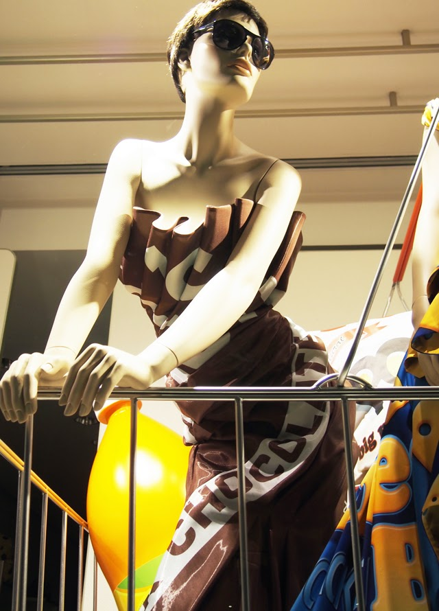 Moschino Hershey's dress in London window