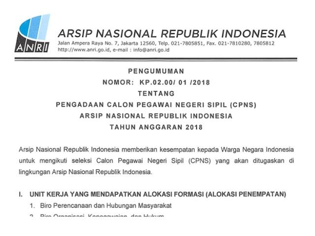Lowongan CPNS 2018 di Arsip Nasional Republik Indonesia (ANRI)