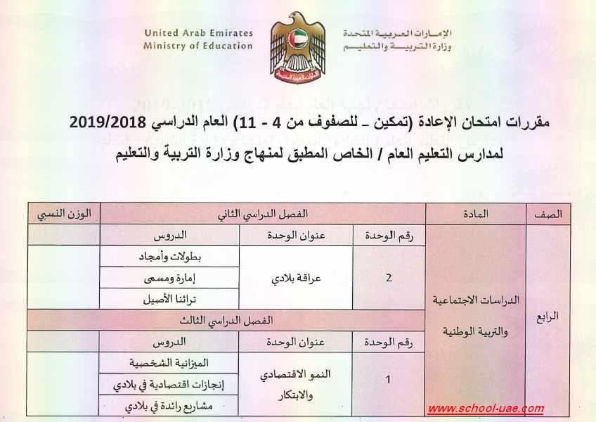 مقررات امتحان الاعادة ( تمكين للصفوف من 4 – 11) مادة الدراسات الاجتماعية للعام الدراسى 2019-2018 - مناهج الامارات