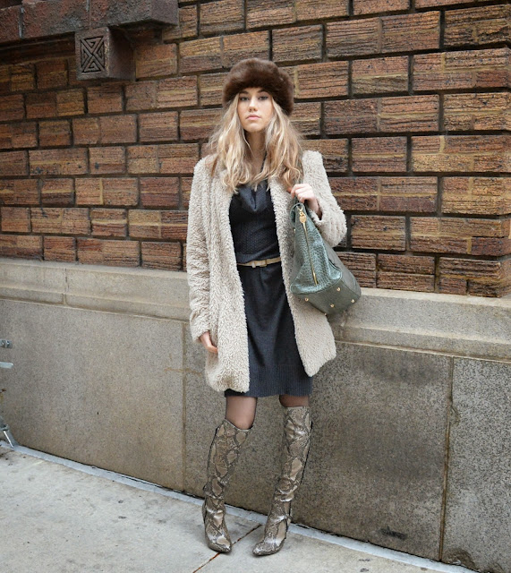 fur, fashion, winter style, boots, purse, outerwear