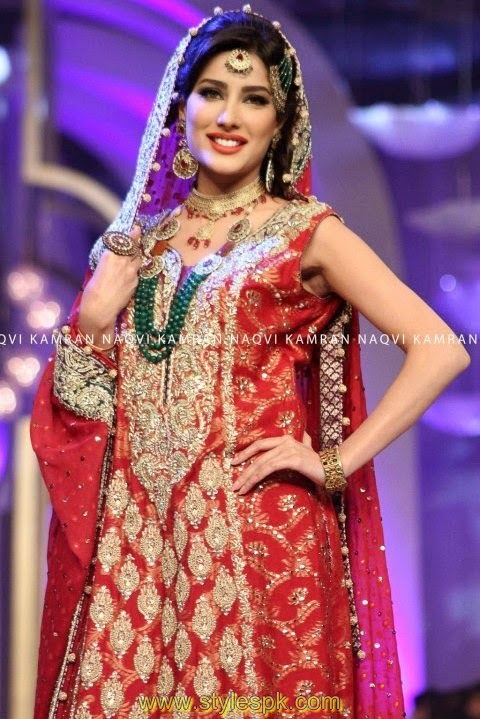 Pakistani Beautiful Actress Mehvish Hayat Bridal Dresses