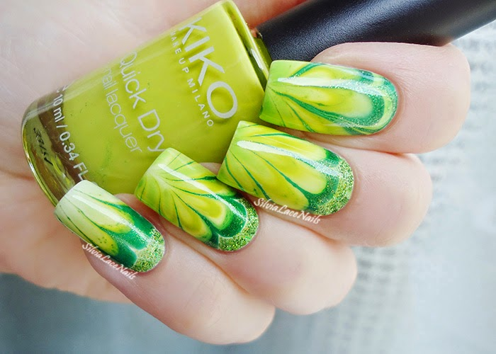 Birthstone Challenge #8 Peridot: green drops water marble