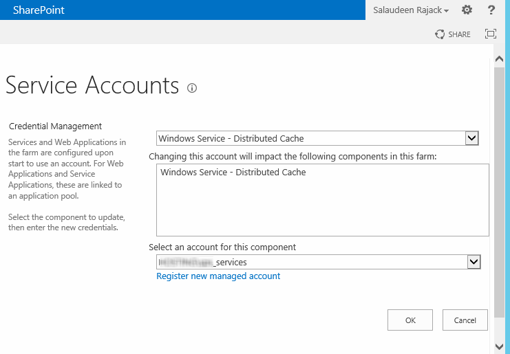 sharepoint 2013 change service account for distributed cache