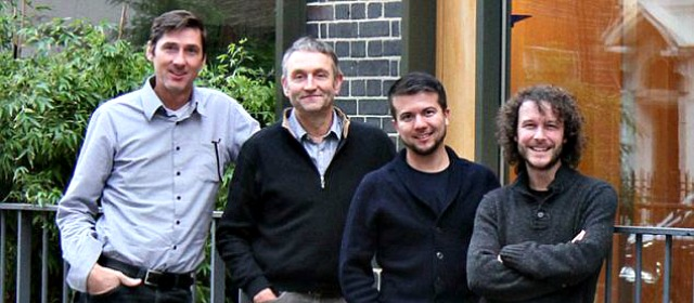 the inventors of the gravity light (from left) Patrick Hunt, Martin Riddiford, Mario Siqueira and Jim Reeves talk about crowdfunding their product via geniushowto.blogspot.com science and technology news and gadgets