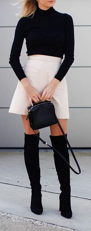 street style outfit idea: black top + skirt + bag + heels
