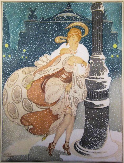 Disegno Gerda Wegener di una donna a Parigi