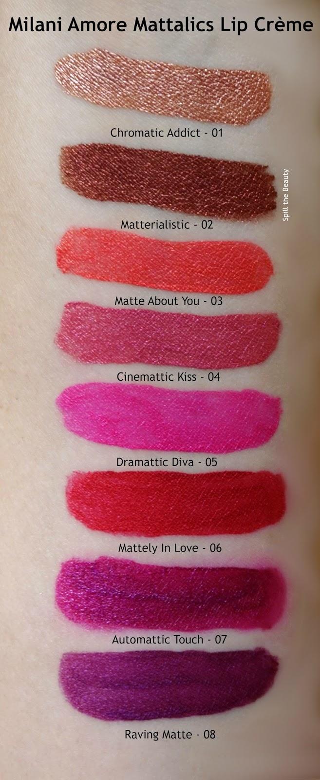 milani amore mattalic lip creme arm swatches review