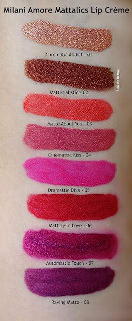 milani amore mattalic lip creme arm swatches review