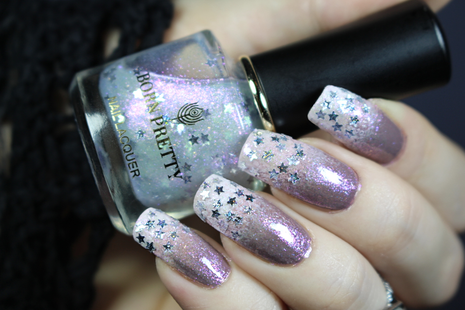 beautiful sparkly manicure in lilac and white colors