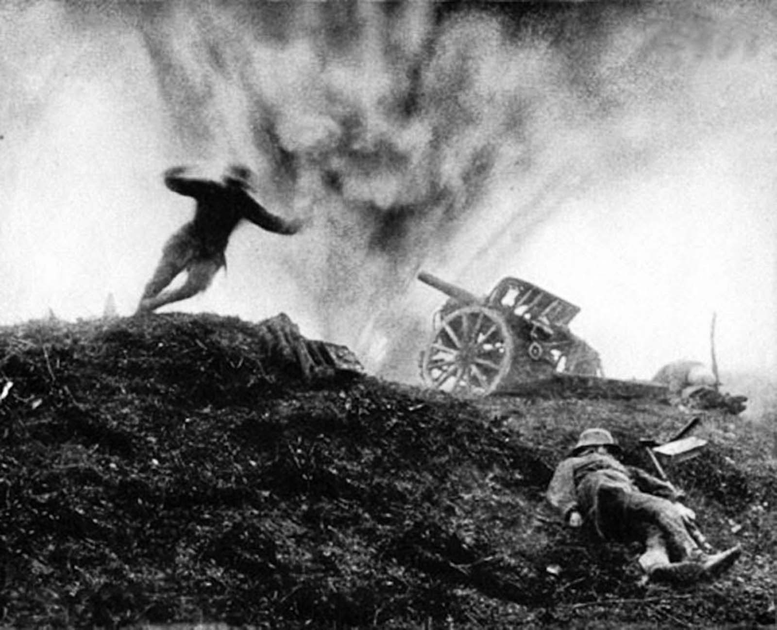 German soldier dives for cover as shell explodes. Western Front, 1917.