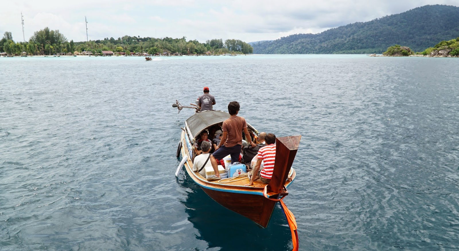 Taking the longtail boat to shore