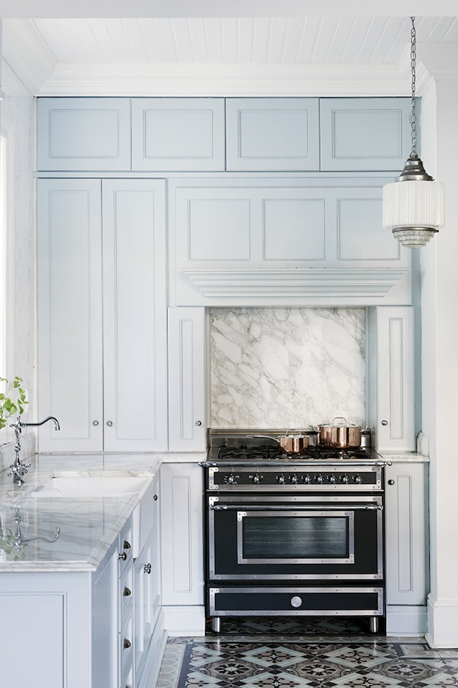 Baby blue kitchen, marble & tiles | Cape Town Home