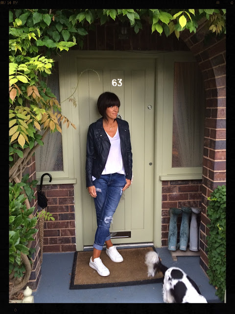 My Midlife Fashion, Marks and Spencer Faux Leather Quilted Biker Jacket, Zara, Distressed Denim, Boyfriend Jeans, Mango, White Trainers