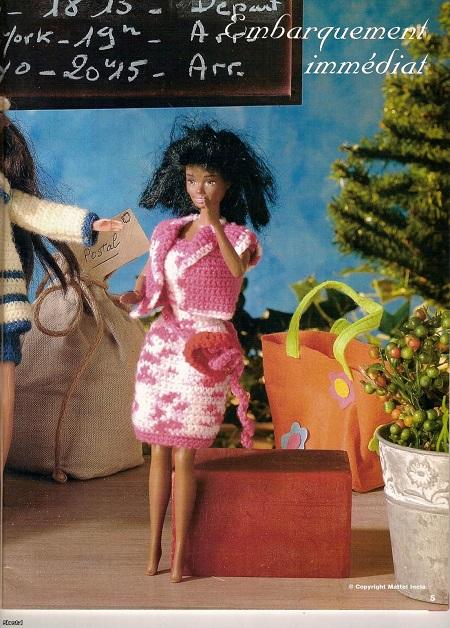 vestido e casaco de crochê para barbie com grafico