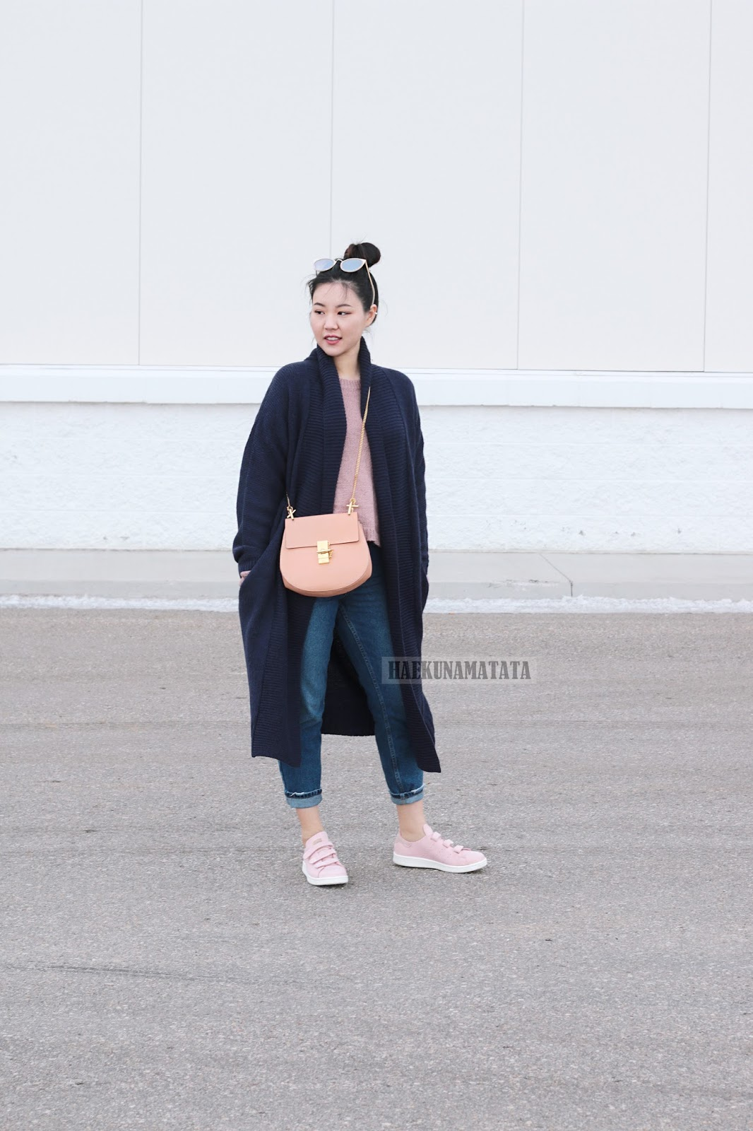 Pink Neutrals OOTD: Topshop Mom Jeans, Chloe Drew, Adidas Stan Smith