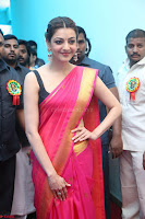Kajal Aggarwal in Red Saree Sleeveless Black Blouse Choli at Santosham awards 2017 curtain raiser press meet 02.08.2017 003.JPG