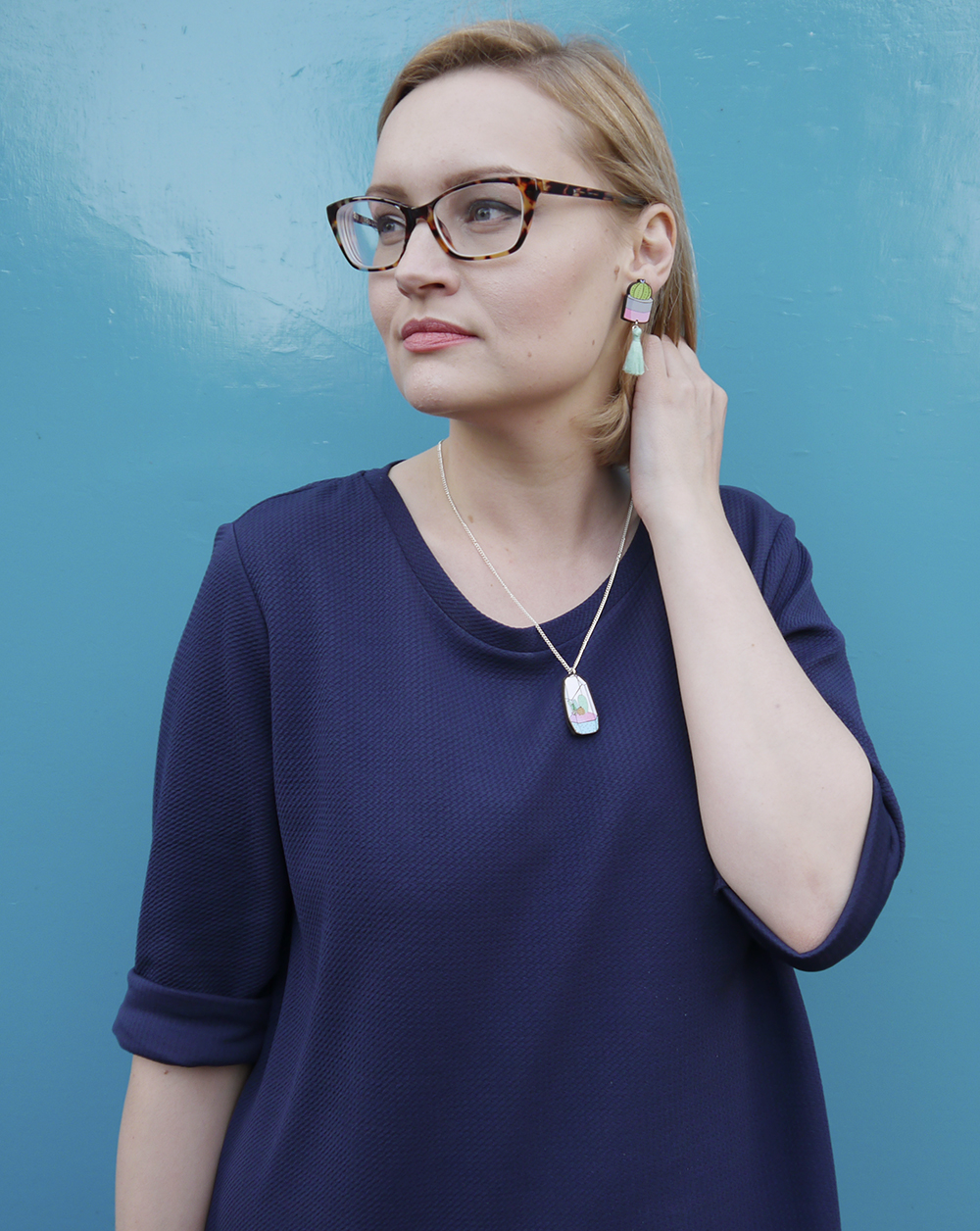 blue outfit, oversized slouchy dress, modern fashion silhouette, iolla carnegie frames, illustrated cactus jewllery, uk style blogger, wardrobe conversations, Kimberley Grahame